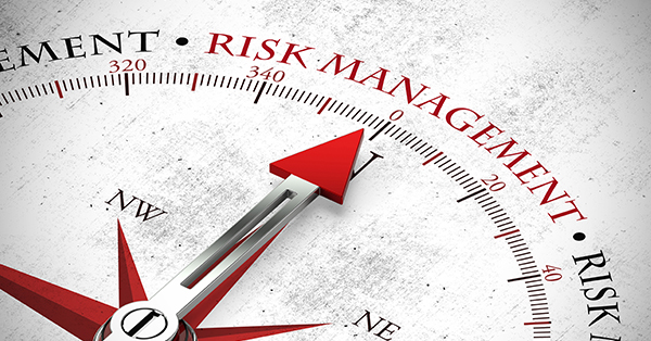 A compass with an arrow pointing to the words Risk Management