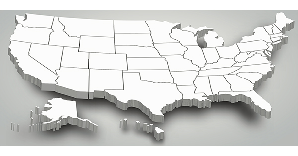 3D map of the United States